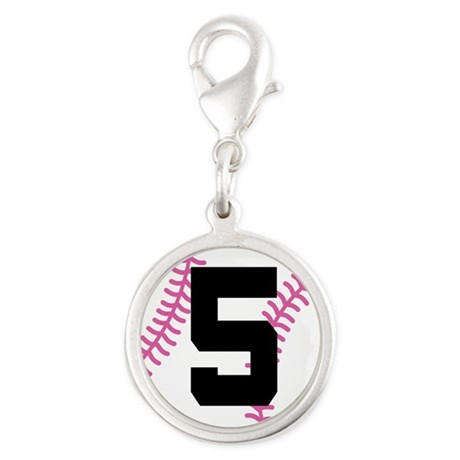 Softball Player Number 5 Silver Round Charm