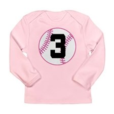 Softball Player Number 3 Long Sleeve Infant T-Shir