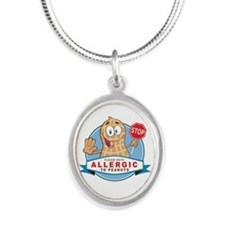 Allergic to Peanuts Silver Oval Necklace