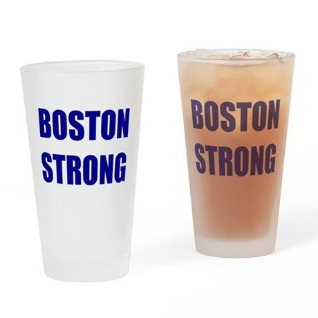 BOSTON STRONG - blue Drinking Glass