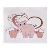 Hogs and Kisses Cute Piggies art Throw Blanket
