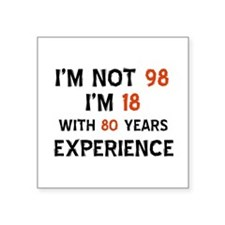 "98 year old designs Square Sticker 3"" x 3"""