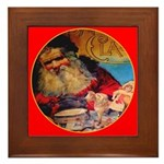 Season's Greetings Santa Framed Tile