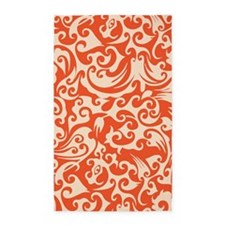 Tangerine & Linen Swirls 3'x5' Area Rug