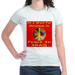 Santa Clause Peace Symbol Jr. Ringer T-Shirt
