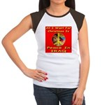 Santa Clause Peace Symbol Women's Cap Sleeve T-Shi