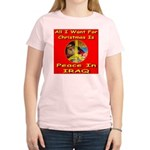 Santa Clause Peace Symbol Women's Pink T-Shirt