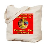 Santa Clause Peace Symbol Tote Bag