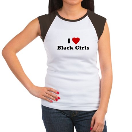 I Love [Heart] Black Girls Womens Cap Sleeve T-Sh