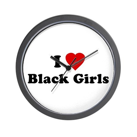 I Love [Heart] Black Girls Wall Clock