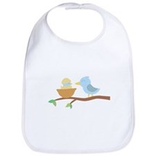 Cute Blue bird with its just hatched baby Bib