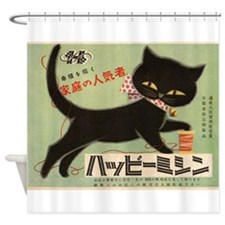 Black Cat, Japan, Vintage Poster Shower Curtain