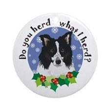 Border Collie Christmas Ornament (Round)