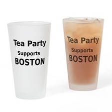 Tea Party Supports Boston Drinking Glass