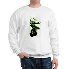 Green Buck on Black Sweatshirt