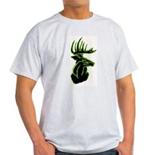 Green Buck on Black Ash Grey T-Shirt
