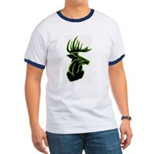 Green Buck on Black T