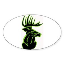 Green Buck on Black Oval Decal