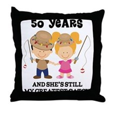 50th Anniversary Mens Fishing Throw Pillow