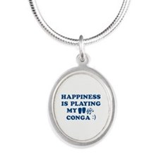 Conga Vector Designs Silver Oval Necklace