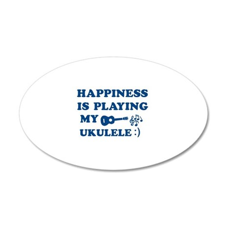 Ukulele Vector Designs 20x12 Oval Wall Decal