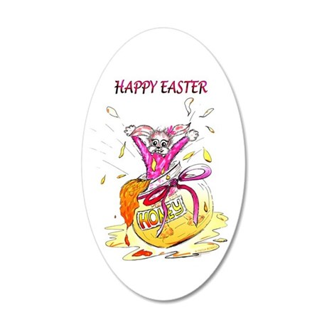 Honey Bunny, Happy Easter Greeting 20x12 Oval Wall