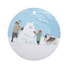 Keeshond Snow Dog Ornament