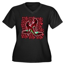 Red Leopard Stiletto's Women's Plus Size V-Neck Da