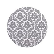 "Pebble Grey Damask 3.5"" Button"