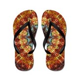 Fiery Needlework Mandala Flip Flops