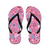 tiny hearts pattern -blue romance- Flip Flops