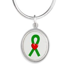 Green Heart Ribbon Necklaces