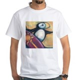 'surfing puffin' men's white tee