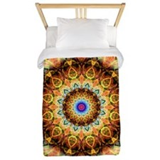 Ochre Burned Glass Mandala Twin Duvet
