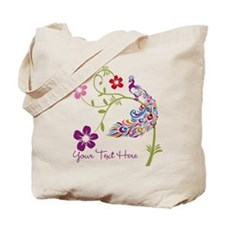 Add Text Colored Peacock Tote Bag