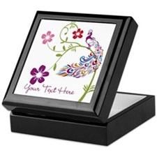 Add Text Colored Peacock Keepsake Box