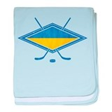 Ukrainian Ice Hockey Flag baby blanket