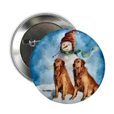 "Golden Retriever Christmas 2.25"" Button (100 pack)"
