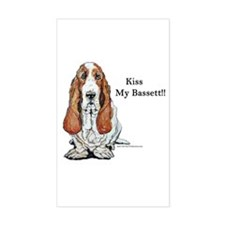 Kiss My Bassett!! Rectangle Decal