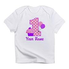1st Birthday Purple Cupcake Infant T-Shirt