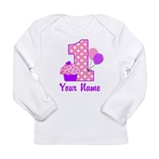 1st Birthday Purple Cupcake Long Sleeve T-Shirt