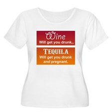 Maternity Funny! - Wine vs Tequila Plus Size T-Shi
