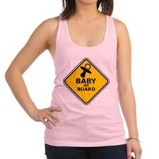 BABY ON BOARD SIGN Racerback Tank Top