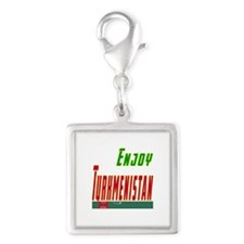 Enjoy Turkmenistan Flag Designs Silver Square Char