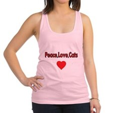 Peace,Love,Cats, with Heart Racerback Tank Top