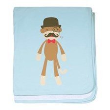 Sock monkey with Mustache and Top hat baby blanket