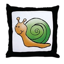 Orange and Green Snail Throw Pillow