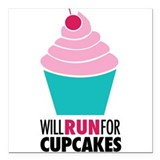 "Cupcake RUnner Square Car Magnet 3"" x 3"""