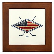 USA Hockey Flag Logo Framed Tile
