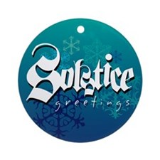 """Solstice Greetings"" Dark Blue ornament"